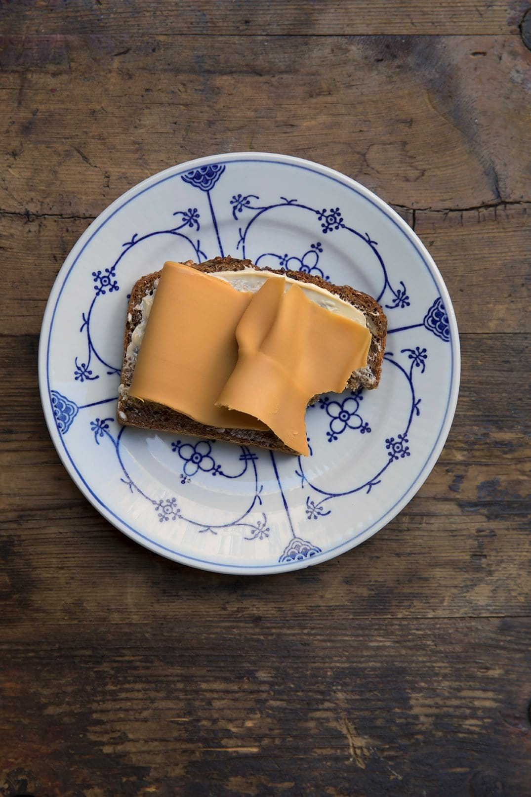 Slice of brunost on bread