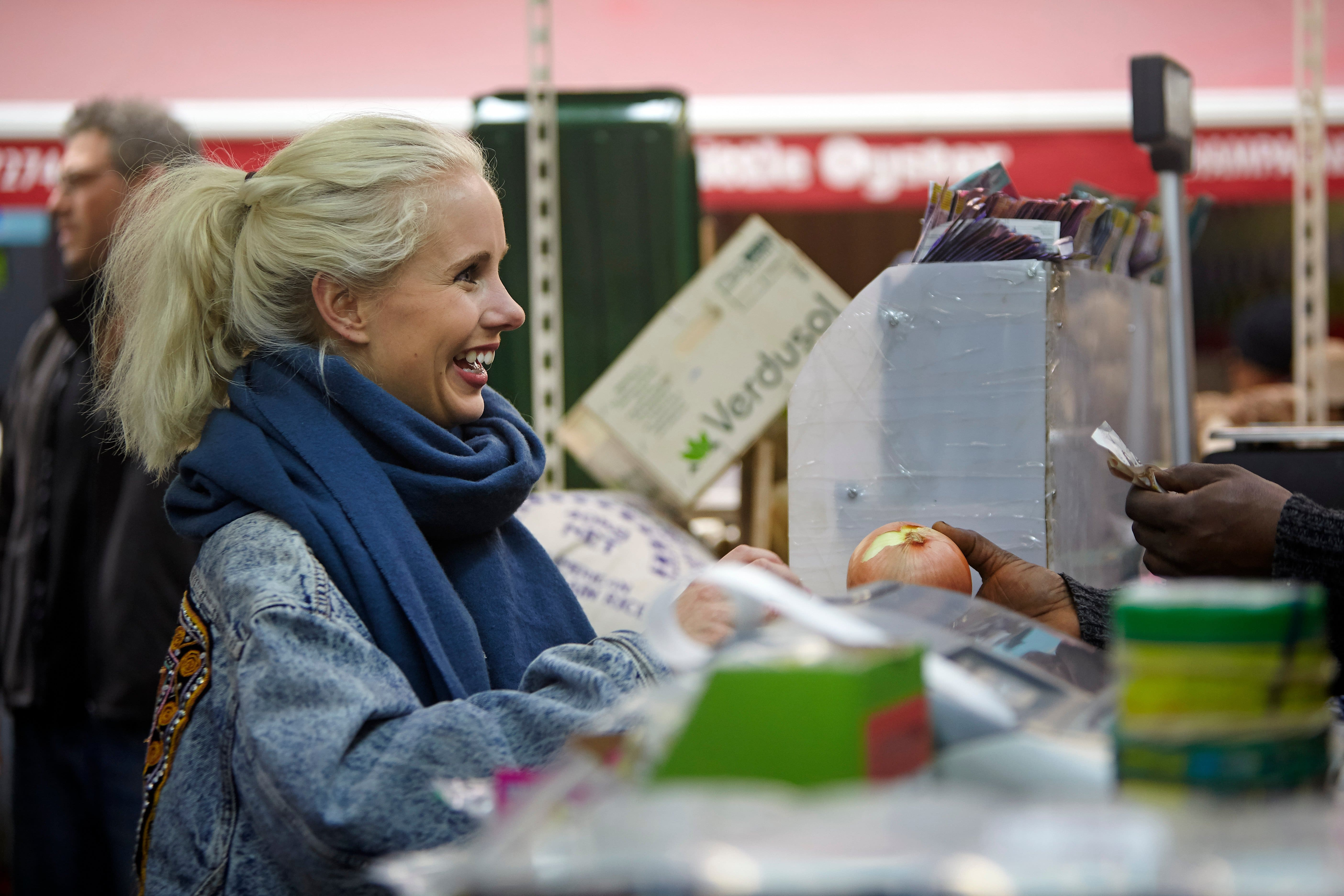Sigrid Vik buying groceries at Brixton Market