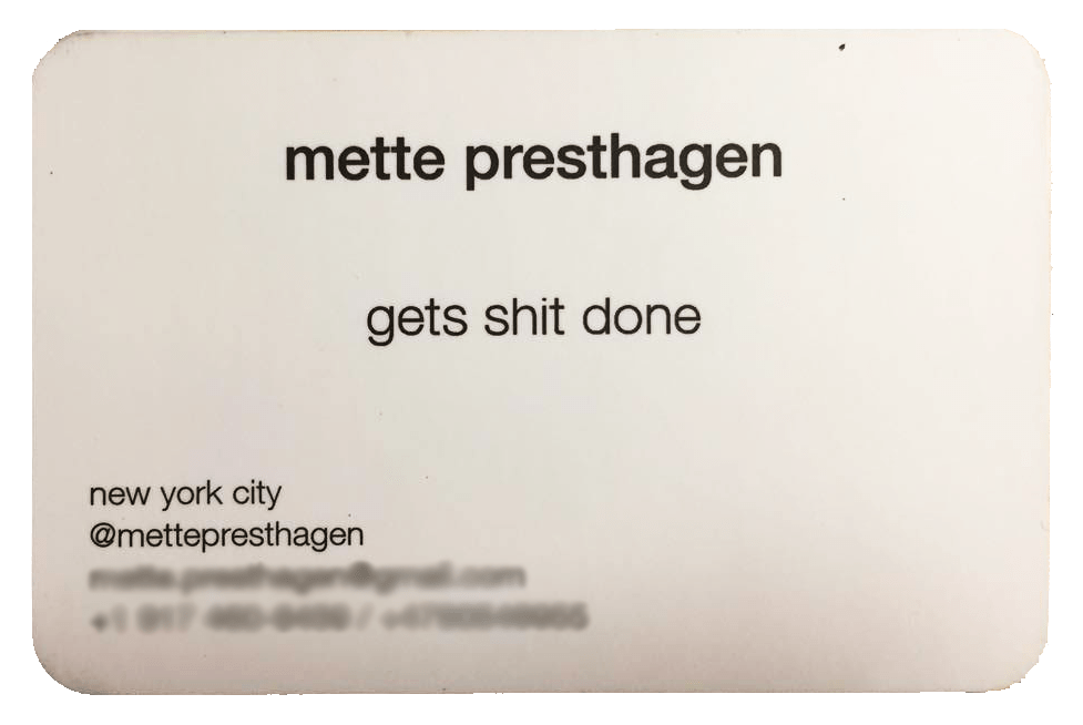 Mette's Business Card